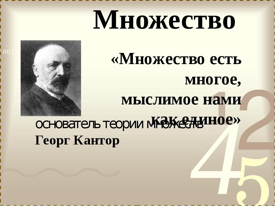 основатель теории множеств Георг Кантор «Множество есть многое, мыслимое нами...