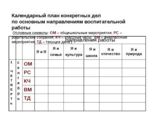 Календарный план конкретных дел по основным направлениям воспитательной рабо