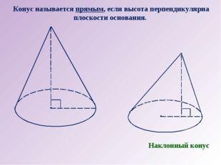 Конус называется прямым, если высота перпендикулярна плоскости основания. Нак
