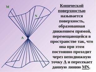 Конической поверхностью называется поверхность, образованная движением прямой