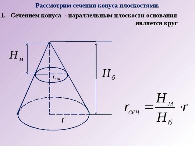 Рассмотрим сечения конуса плоскостями. Сечением конуса - параллельным плоскос...