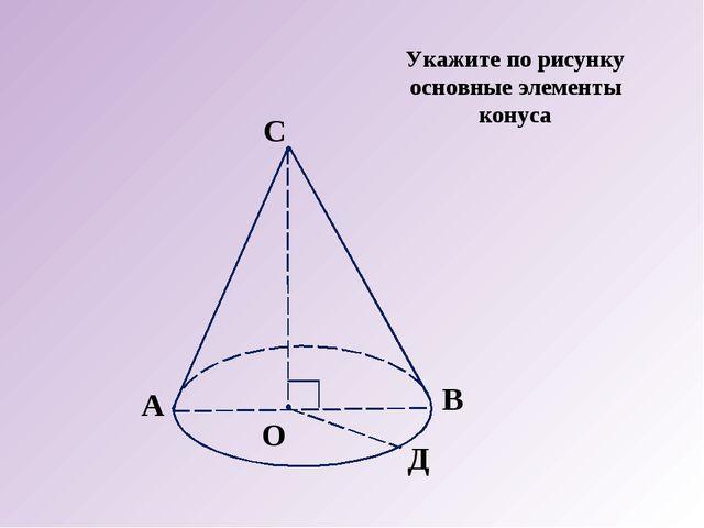 А О В С Д Укажите по рисунку основные элементы конуса
