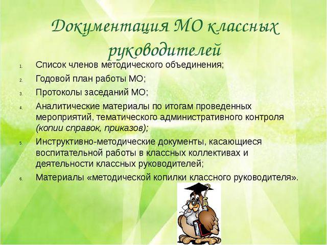 Документация МО классных руководителей Список членов методического объединени...