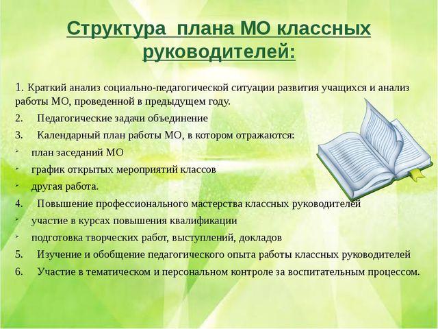 Структура плана МО классных руководителей: 1.Краткий анализ социально-педаго...