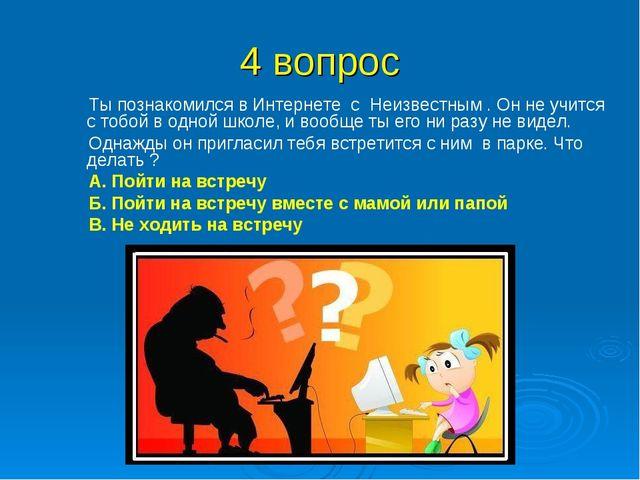 4 вопрос Ты познакомился в Интернете с Неизвестным . Он не учится с тобой в о...