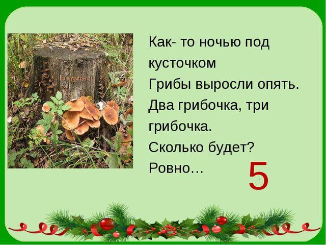Как- то ночью под кусточком Грибы выросли опять. Два грибочка, три грибочка....