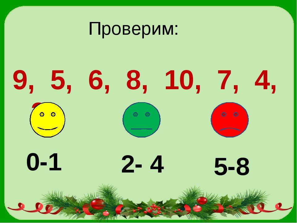 Проверим: 9, 5, 6, 8, 10, 7, 4, 3 0-1 2- 4 5-8