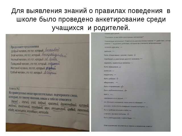 Для выявления знаний о правилах поведения в школе было проведено анкетировани...