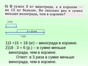 3 (кг) ? (кг) 3 + 15 (кг) 3 +15 = 18 (кг) – винограда в корзине. 18 : 3 = 6 (