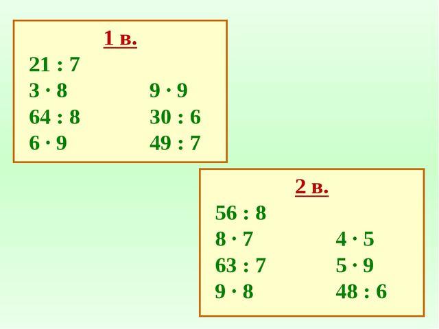 2 в. 56 : 8 8 ∙ 74 ∙ 5 63 : 75 ∙ 9 9 ∙ 848 : 6 1 в. 21 : 7 3 ∙ 8 9 ∙...