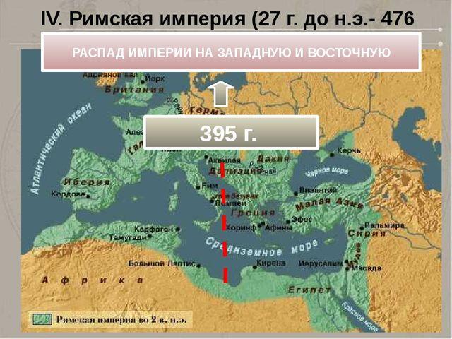 IV. Римская империя (27 г. до н.э.- 476 г.) РАСПАД ИМПЕРИИ НА ЗАПАДНУЮ И ВОСТ...