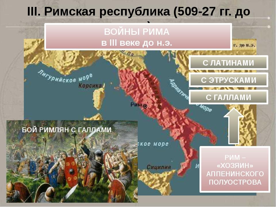 III. Римская республика (509-27 гг. до н.э.) ВОЙНЫ РИМА в III веке до н.э. С...