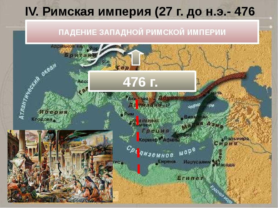 IV. Римская империя (27 г. до н.э.- 476 г.) ПАДЕНИЕ ЗАПАДНОЙ РИМСКОЙ ИМПЕРИИ...