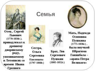 Семья Отец , Сергей Львович (1770-1838г.), принадлежал к древнему дворянском