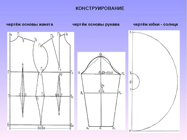 КОНСТРУИРОВАНИЕ чертёж основы жакета чертёж основы рукава чертёж юбки - солнце