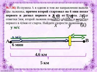 №7.36) Из пункта А в одном и том же направлении вышли два лыжника, причем вто