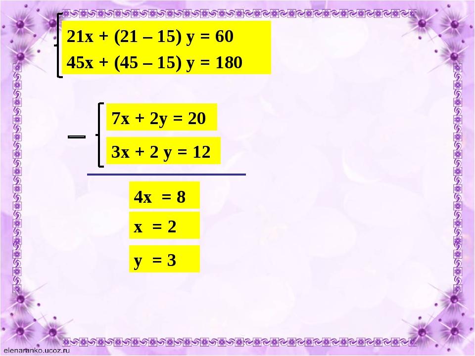 21х + (21 – 15) у = 60 45х + (45 – 15) у = 180 7х + 2у = 20 3х + 2 у = 12 4х...