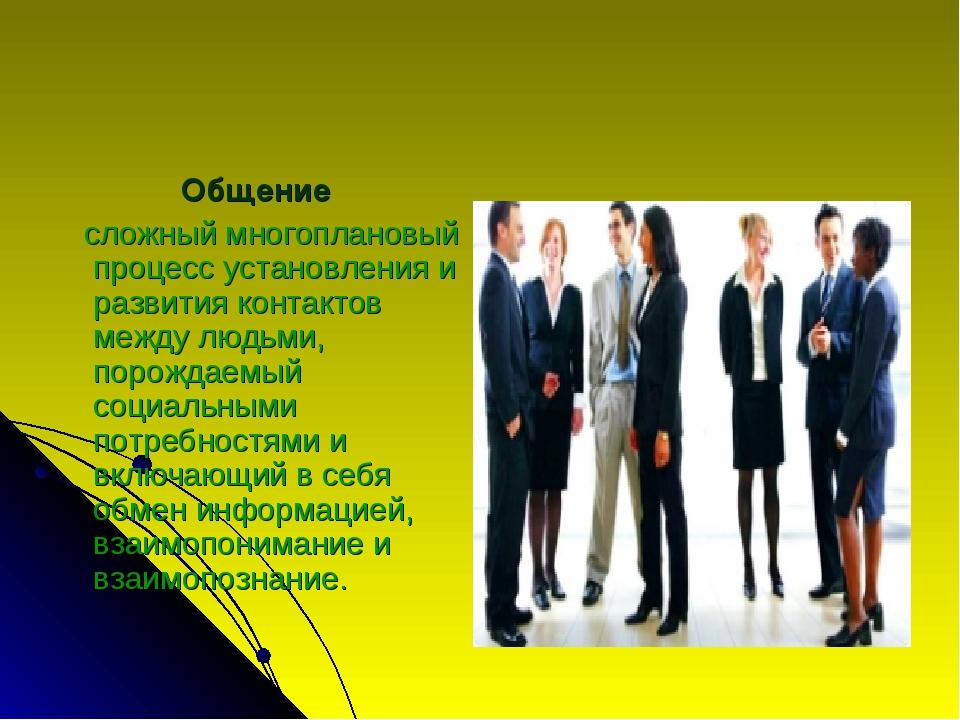 Общение сложный многоплановый процесс установления и развития контактов между...