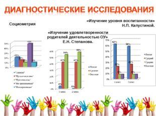 Социометрия «Изучение удовлетворенности родителей деятельностью ОУ» Е.Н. Степ