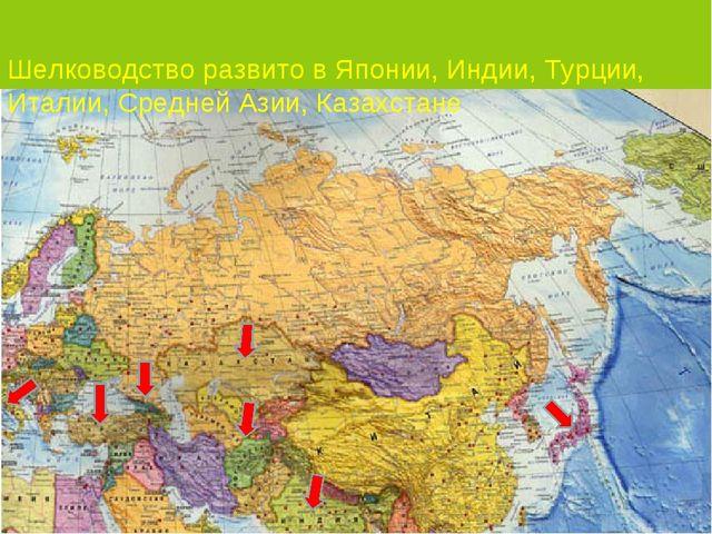 Шелководство развито в Японии, Индии, Турции, Италии, Средней Азии, Казахстане