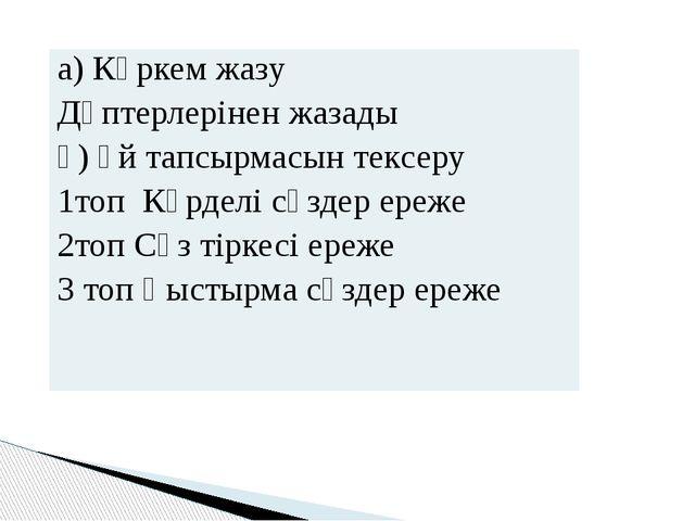 а) Көркем жазу Дәптерлерінен жазады ә)Үйтапсырмасын тексеру 1топ Күрделі сөзд...