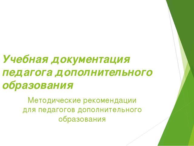 Учебная документация педагога дополнительного образования Методические рекоме...