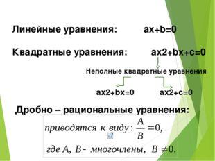 Линейные уравнения: аx+b=0 Квадратные уравнения: ax2+bx+c=0 Неполные квадратн