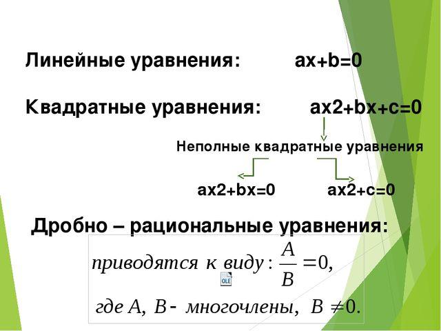 Линейные уравнения: аx+b=0 Квадратные уравнения: ax2+bx+c=0 Неполные квадратн...