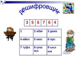12 абвг3 дежз 4 ийкл5 мно6 прс 7 туфх8 цчш щъ9 ыьэ юя 356764