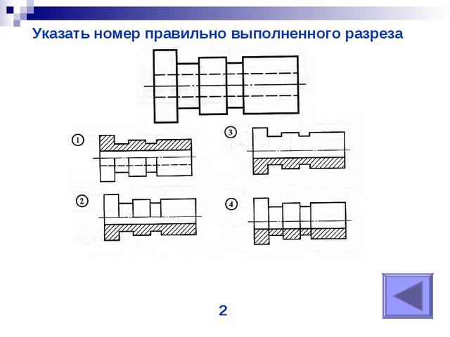 Указать номер правильно выполненного разреза 2