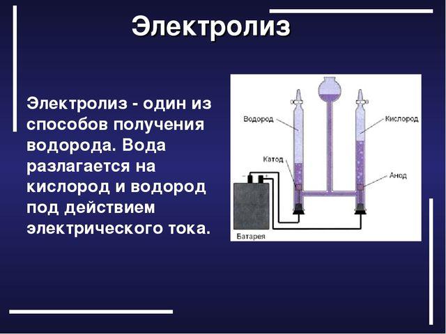 Электролиз Электролиз - один из способов получения водорода. Вода разлагае...
