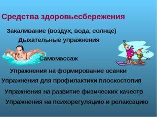 Средства здоровьесбережения Закаливание (воздух, вода, солнце) Упражнения на