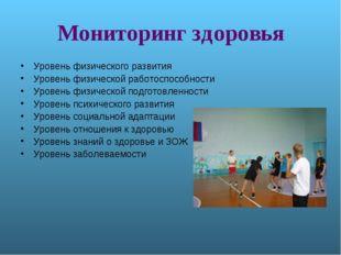 Мониторинг здоровья Уровень физического развития Уровень физической работоспо