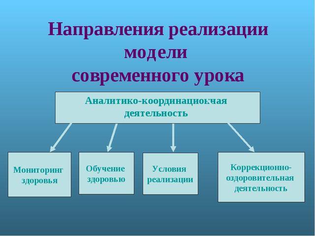 Направления реализации модели современного урока Аналитико-координационная де...