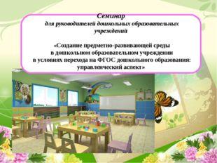 Семинар для руководителей дошкольных образовательных учреждений «Создание пр