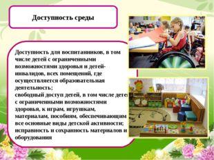 Доступность среды Доступность для воспитанников, в том числе детей с огранич