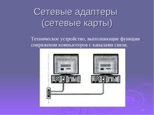 * Сетевые адаптеры (сетевые карты) Техническое устройство, выполняющие функци