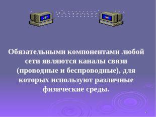 * Обязательными компонентами любой сети являются каналы связи (проводные и бе