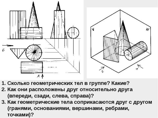Сколько геометрических тел в группе? Какие? Как они расположены друг относите...