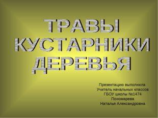 Презентацию выполнила Учитель начальных классов ГБОУ школы №1474 Пономарева Н