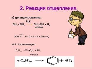 2. Реакции отщепления. а) дегидрирование: CH3 – CH3 Pt,t° CH2=CH2 + H2 этилен