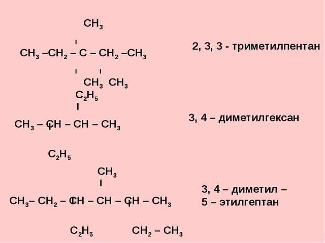 СН3 І СН3 –СН2 – С – СН2 –СН3 І І СН3 СН3 2, 3, 3 - триметилпентан 3, 4 – ди...