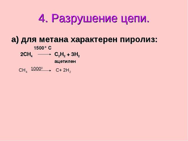 а) для метана характерен пиролиз: 4. Разрушение цепи. 2CH4 C2H2 + 3H2 ацетиле...