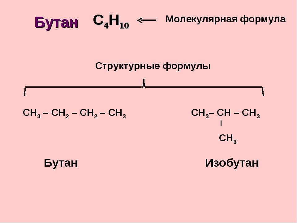 С4Н10 СН3 – СН2 – СН2 – СН3 Молекулярная формула Структурные формулы Бутан Бу...
