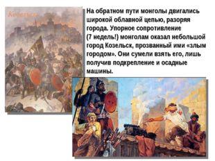 На обратном пути монголы двигались широкой облавной цепью, разоряя города. Уп