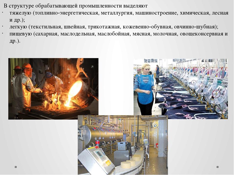 В структуре обрабатывающей промышленности выделяют тяжелую (топливно-энергет...