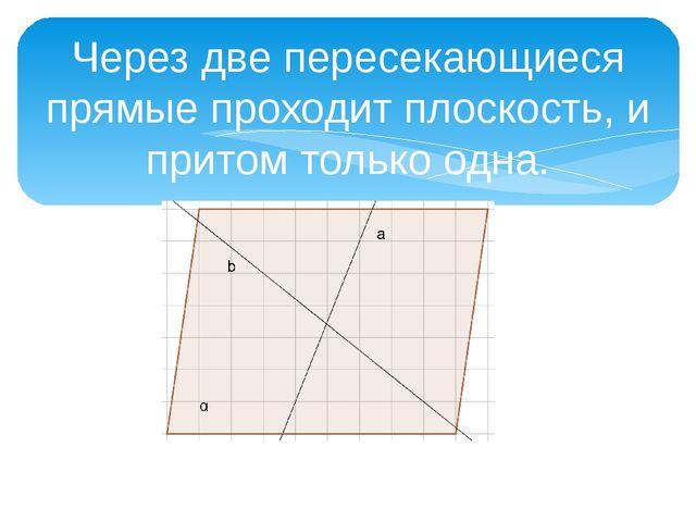 Через две пересекающиеся прямые проходит плоскость, и притом только одна.