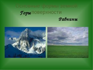 Основные формы земной поверхности Горы Равнины