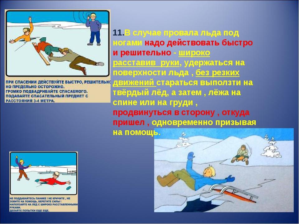 11.В случае провала льда под ногами надо действовать быстро и решительно - ши...