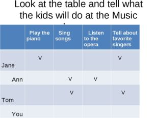 Look at the table and tell what the kids will do at the Music lesson.  Play